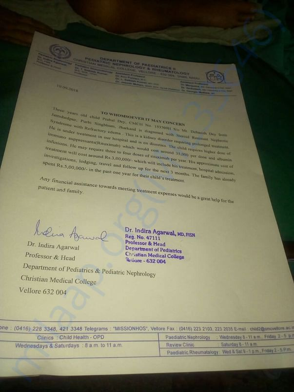 Medical Letter issued by the concerned doctor
