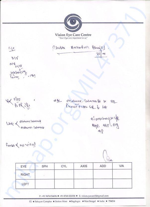 Chatrabahadur Bhujel (Doctors checkup form)