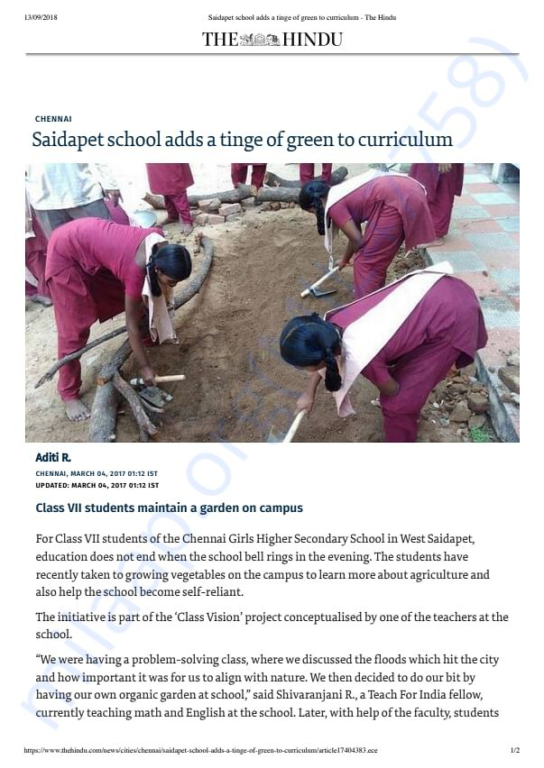 The Hindu report on Grow Your Own Veggies Trust
