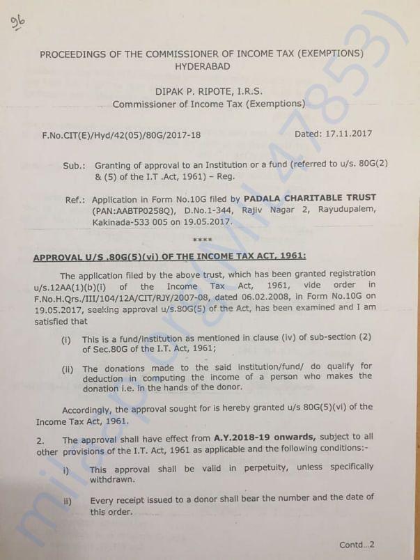 80G Tax Exempt Certificate