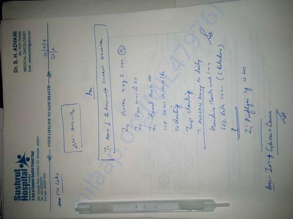 Mother's Treatment in Sushrut Hospital under Dr. S.H.Advani