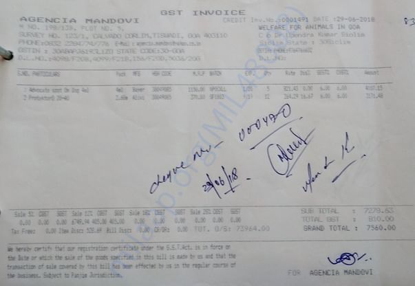 An Invoice for Marleys medicines