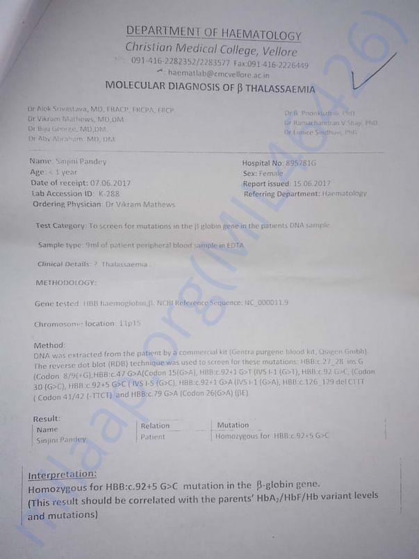 Thalassemia major report 1