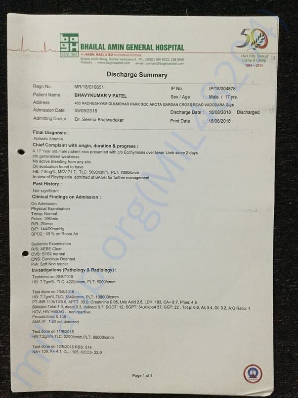 Diagnosis & Discharge Summary 1