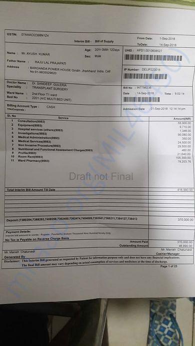 15 days bill in apollo hospital delhi