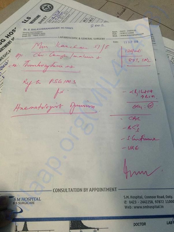 Doctor's confirmation of disease