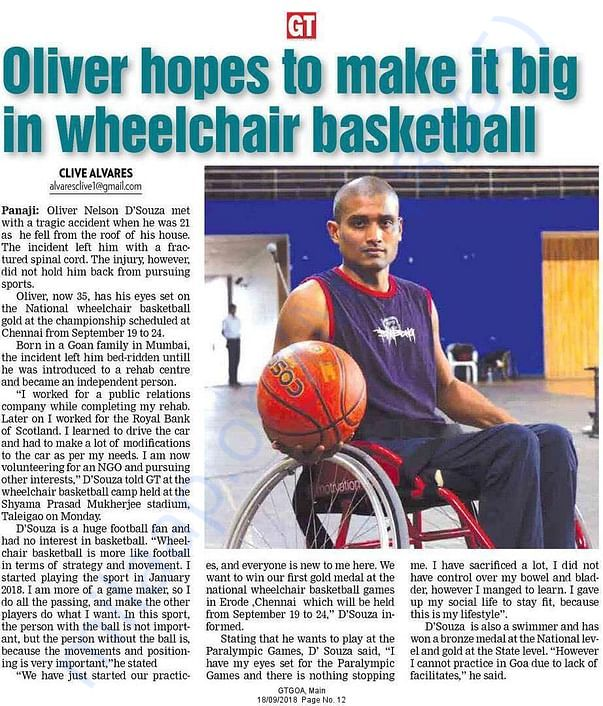 Aspirations of Oliver Dsouza - A wheelchair basketball player
