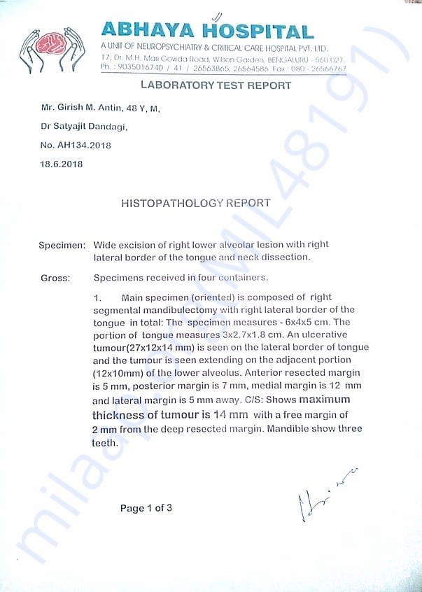 3rd time Abhaya 2nd  Histopathological report pg1