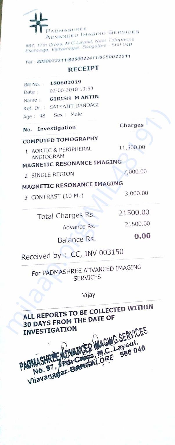 3rd time Padmashree CT & MRI INVOICE