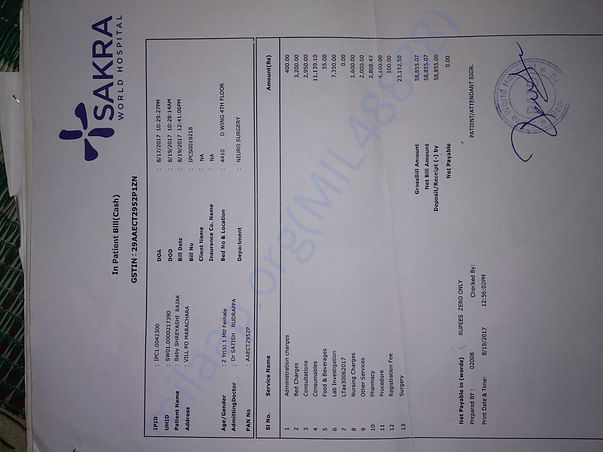 Medical bill, SAKRA Hospital Bengalore