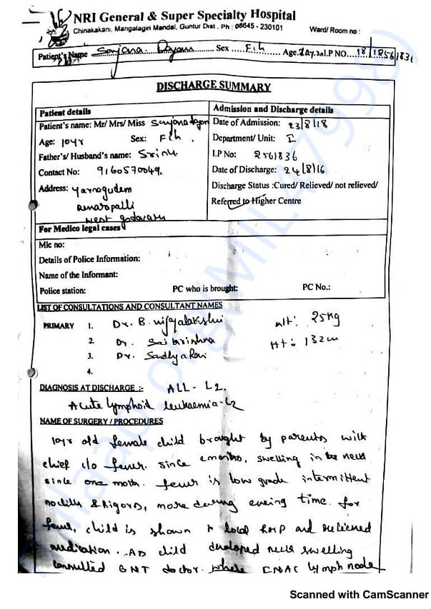 Medical reports given by doctors from NRI HOSPITAL VIJAYAWADA