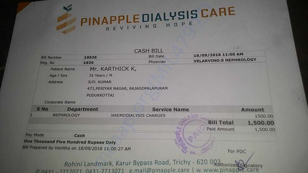 Treatment charge for taking one time dialysis..required twice in a wee