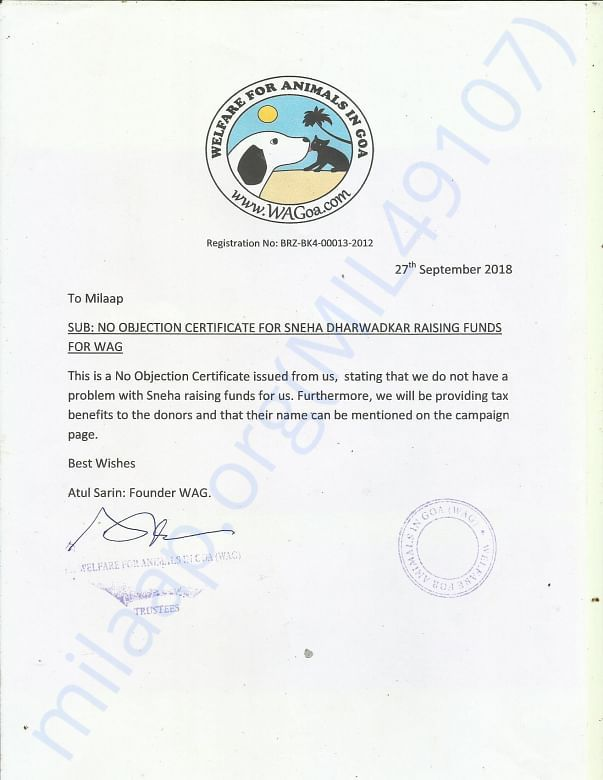 NOC certificate from Welfare for Animals in Goa (WAG), Goa
