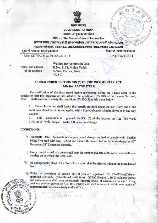 80G Certificate for Tax exemption