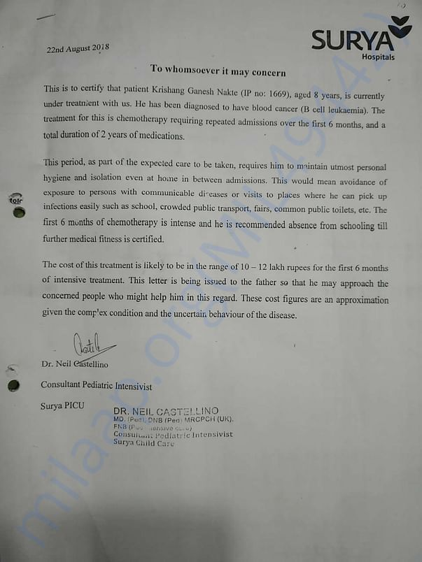 Diagnosis & Line of Treatment Letter from Hospital/Doctor