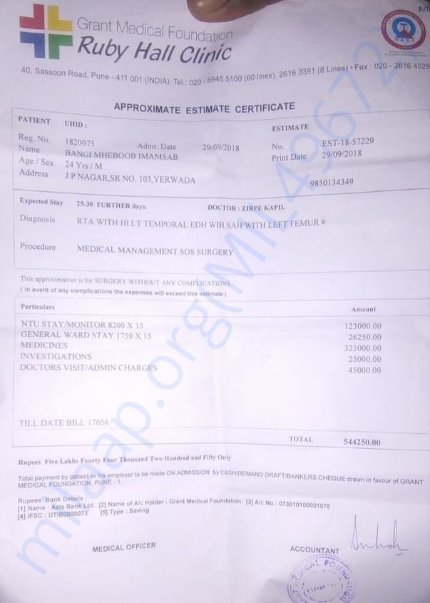 Receipt of the Before Surgery Estimate