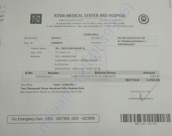 One of the Haemodialysis bill