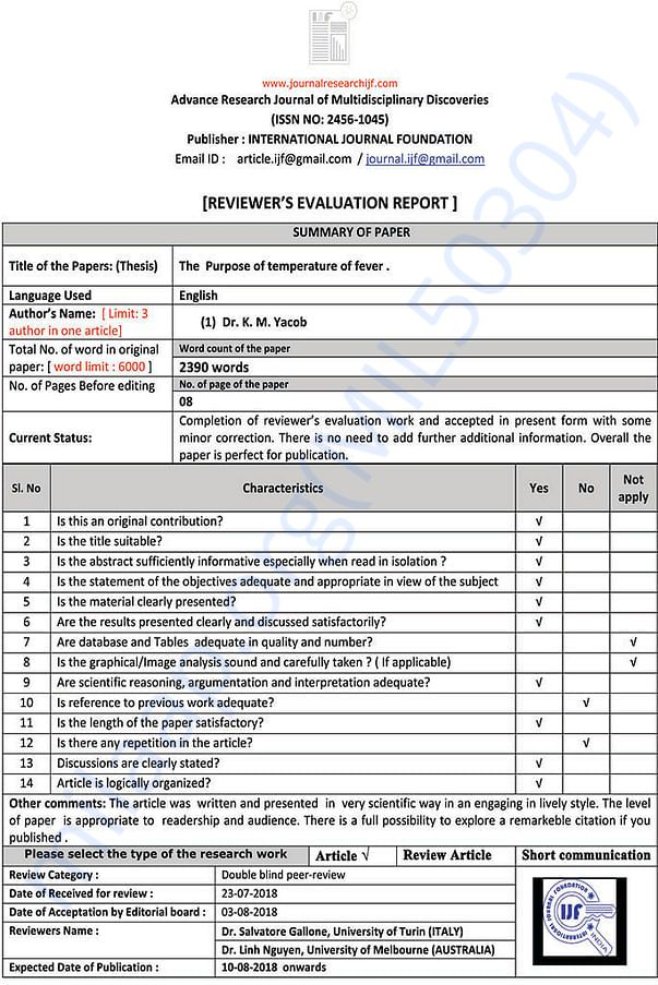 Double blind evaluation report page2