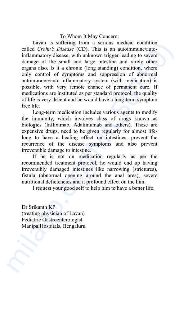 Details on seriousness of Lavans Disease from his doctor.