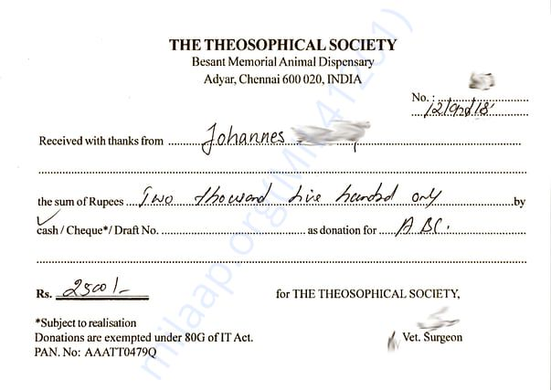 Donation receipt for Johannes
