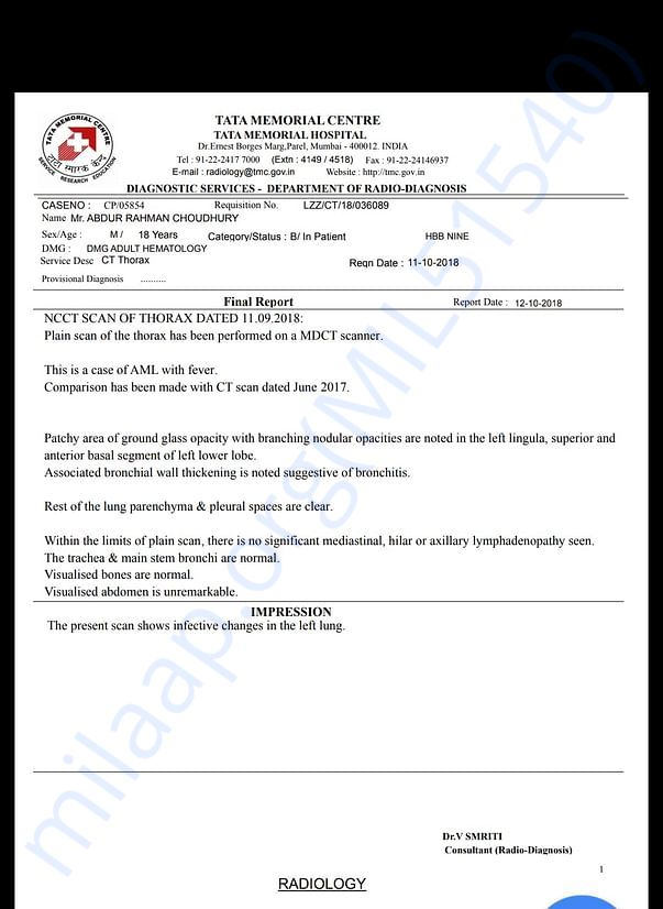 Diagnosis report.I can provide other report also.
