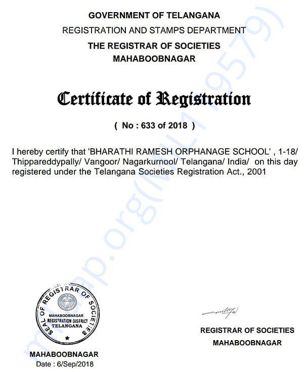 SOCIETY REGISTRATION CERTIFICATE