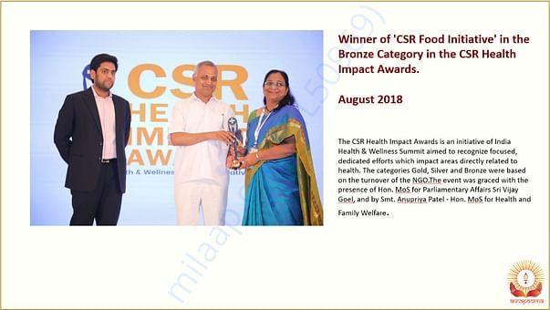 WINNER OF CSR FOOD INITIATIVE IN CSR HEALTH IMPACT AWARDS