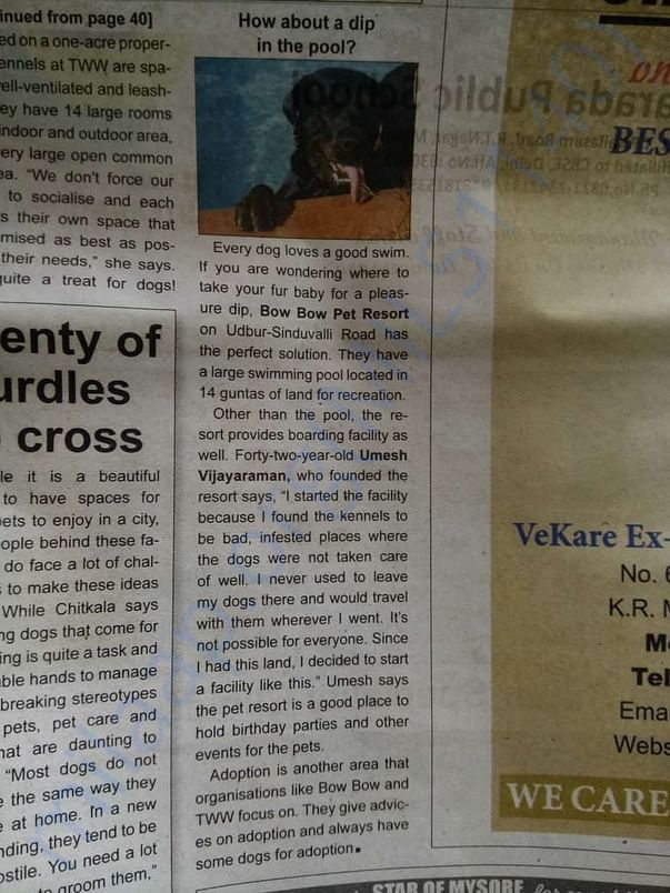 article on us on local evening daily on their special edition.