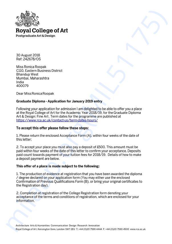 University offer letter