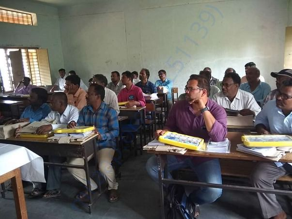 Group of teachers getting trained on effective use of technology
