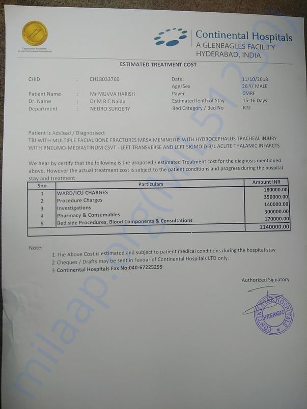 Estimate given by continental hospital hyderabad