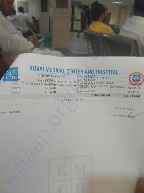 Medical bill as of now