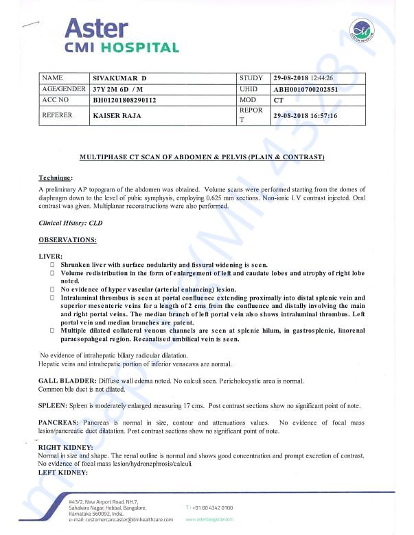 Radiology report from Aster CMI hospital
