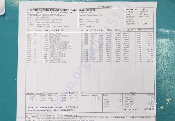 ALAI Medical Bill - S. K. Pharmaceuticals