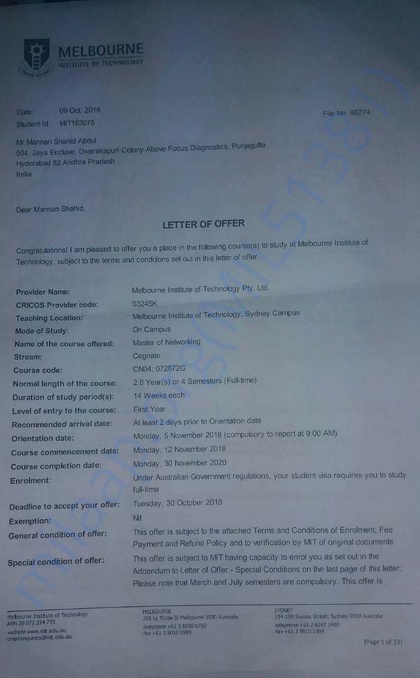 MIT University offer  letter.