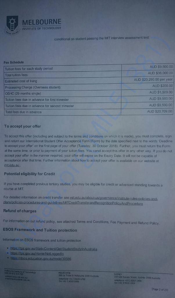 university fee structure.