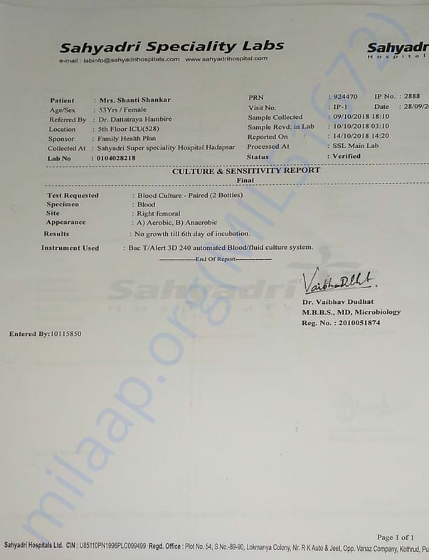 Blood Culture Report as on 14.10.2018