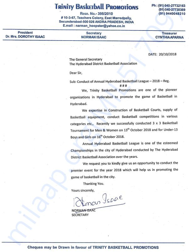Trinity Letter for seeking permission to conduct tournament