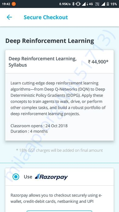 The price details of the course I want to avail.