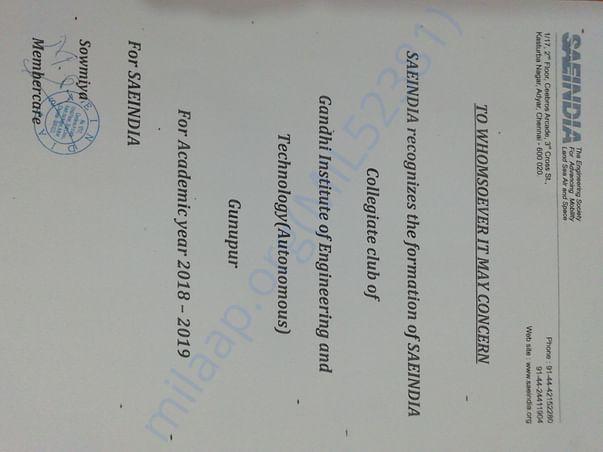 Certificate of collegiate club