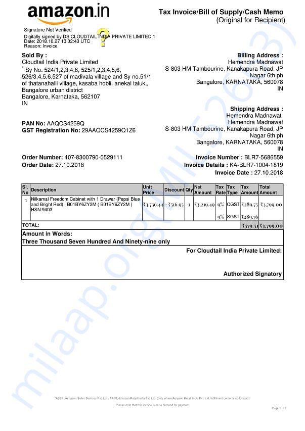 Invoice of payment made by HMT owners association.