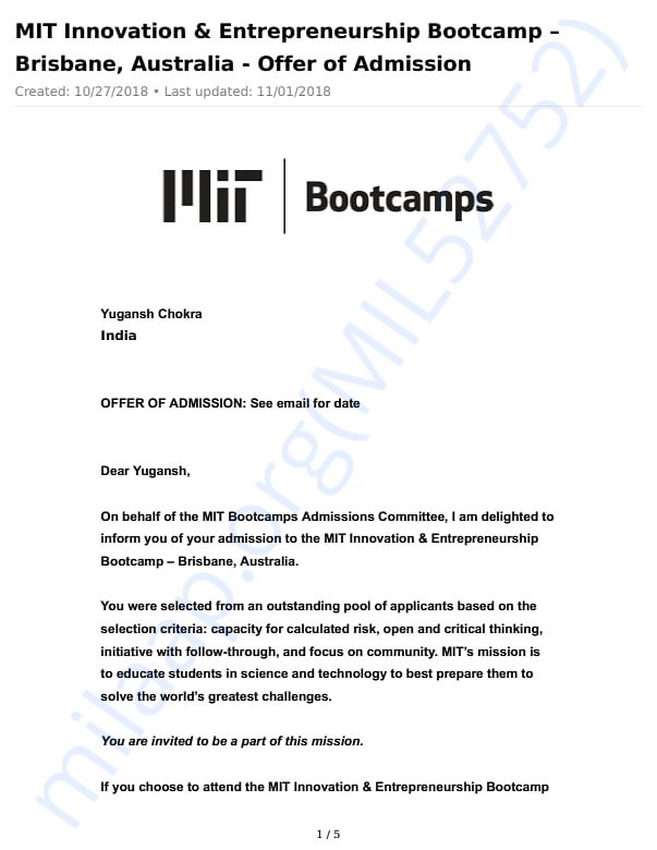 Acceptance Letter from MIT