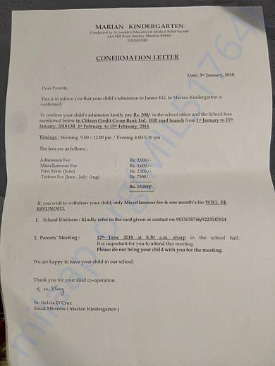 Hensika's confirmation letter for Kinder garten