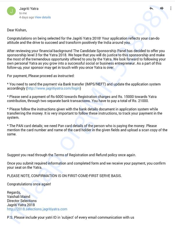 The document is an official intimation from Jagriti Yatra team