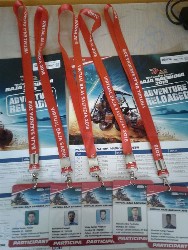 In picture showing the identity card of virtual baja 2018