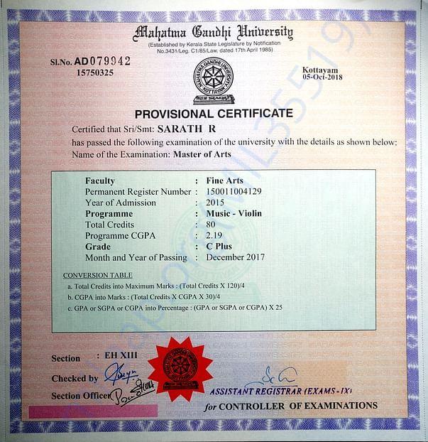 My MA provisional certificate