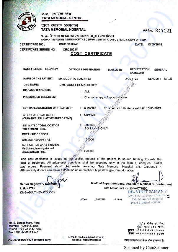 Invoice of Tata Memorial Centre...