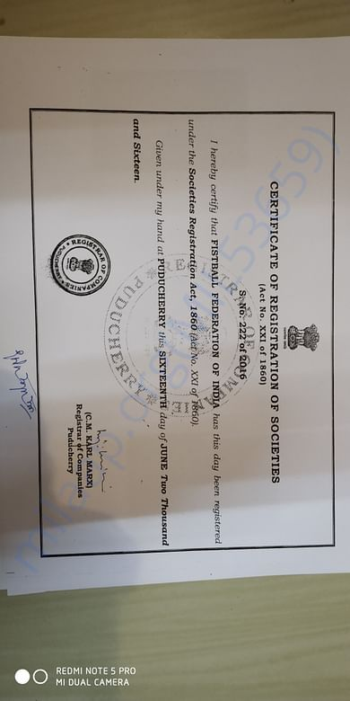 FESTBALL FEDERATION OF INDIA Registration proof