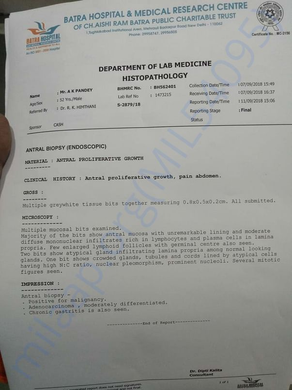 The biopsy report (histo pathology report) which confirmed disease.