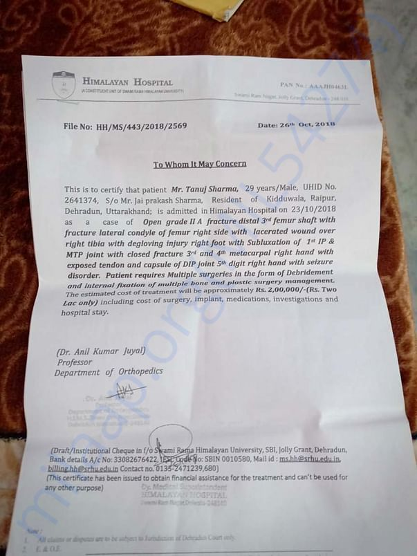 Medical estimate of jolly grant hospital if tanuj sharma